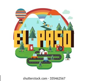 El Paso, in colorful poster design.