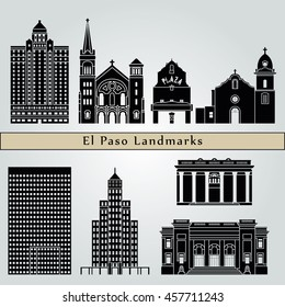 El Paso landmarks and monuments isolated on blue background in editable vector file