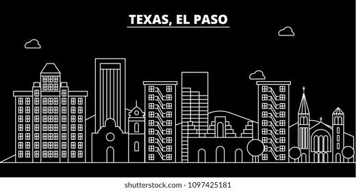 El Paso silhouette skyline. USA - El Paso vector city, american linear architecture, buildings. El Paso travel illustration, outline landmarks. USA flat icon, american line banner
