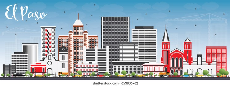 El Paso Skyline with Gray Buildings and Blue Sky. Vector Illustration. Business Travel and Tourism Concept with Modern Architecture. Image for Presentation Banner Placard and Web Site.