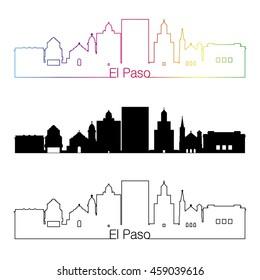 El Paso skyline linear style with rainbow in editable vector file