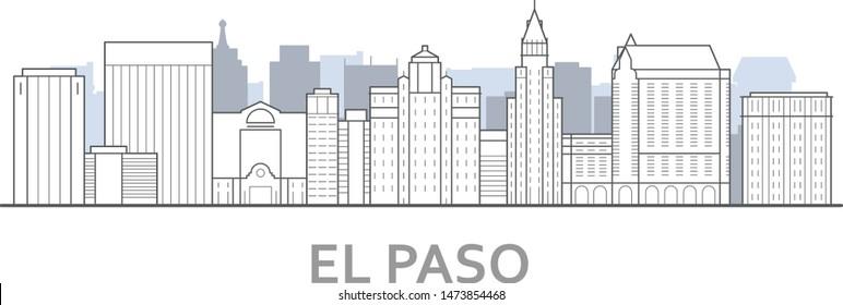El paso skyline, Texas - panorama of El paso, downtown outline view