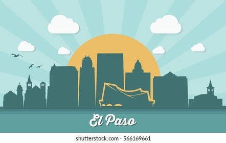 El Paso skyline - Texas - vector illustration