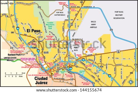 El Paso Texas Area Map Stock Vector (Royalty Free) 144155674 ...