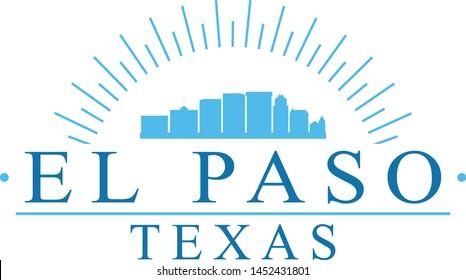 El Paso Texas. Banner Design. City Skyline. Silhouette Vector. Famous Monuments.