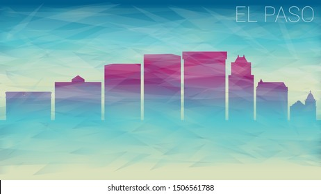 El Paso Texas. Broken Glass Abstract Geometric Dynamic Textured. Banner Background. Colorful Shape Composition.