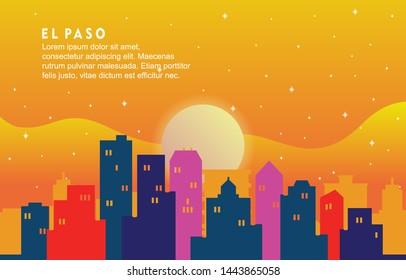 El Paso Texas City Building Landscape Skyline Dynamic Background Illustration