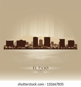El Paso Texas city skyline silhouette. Vector illustration