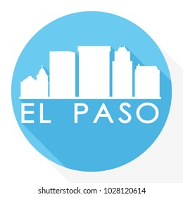 El Paso Texas Flat Icon Skyline Silhouette Design City Vector Art