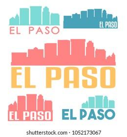El Paso Texas Flat Icon Skyline Vector Silhouette Design Set
