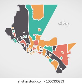 El Paso Texas Map with neighborhoods and modern round shapes