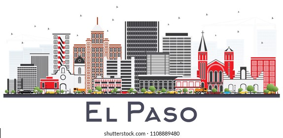 El Paso Texas Skyline with Gray Buildings Isolated on White. Vector Illustration. Business Travel and Tourism Concept with Modern Architecture. El Paso USA Cityscape with Landmarks.