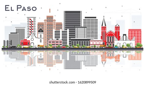 El Paso Texas Skyline with Gray Buildings and Reflections Isolated on White. Vector Illustration. Business Travel and Tourism Concept with Modern Architecture. El Paso USA Cityscape with Landmarks.