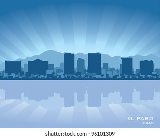 El Paso, Texas skyline illustration with reflection in water