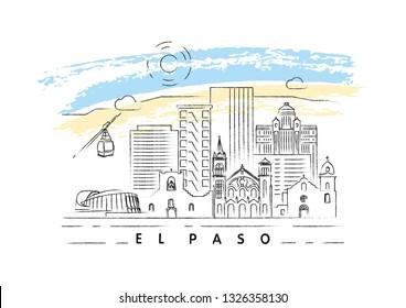 El Paso, Texas skyline vector illustration and typography design