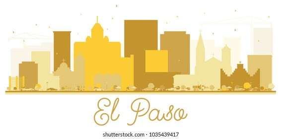 El Paso Texas USA City skyline Golden silhouette. Simple flat concept for tourism presentation, banner, placard or web site. El Paso Cityscape with landmarks. Vector illustration.