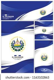 El salvador flag abstract colors background. Collection banner design. brochure vector illustration.