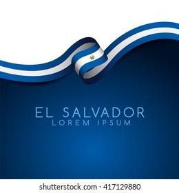 El Salvador Flag Ribbon : Vector Illustration