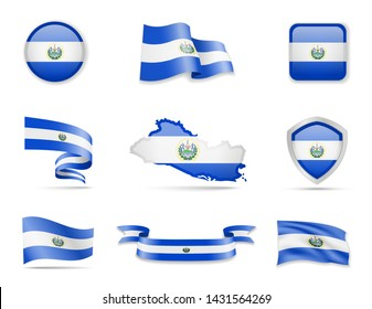 El Salvador flags collection. Flags and outline of the country vector illustration set