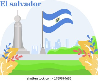 El Salvador Independence Day vector concept: Monumento al Divino Salvador del Mundo besides El Salvador national flag at the hills