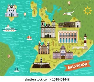 El Salvador map with landmarks. Bale Folclorico da Bahia folk dance and music building, Praia da Barra lighthouse, Church of Nosso Senhor do Bonfim and Tower House of Garcia d'Avila. Sightseeing