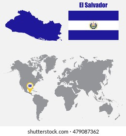 El Salvador map on a world map with flag and map pointer. Vector illustration
