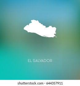 El Salvador map silhouette. Abstract Blurred Background