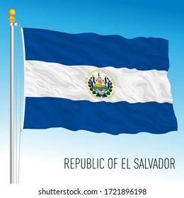 El Salvador official national flag, central america, vector illustration