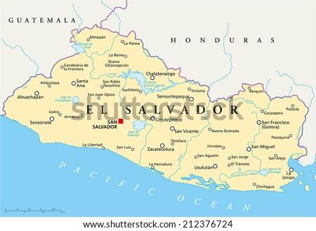 El Salvador Political Map Capital San Stock Vector (Royalty Free ...