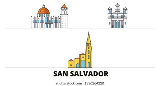 El Salvador, San Salvador flat landmarks vector illustration. El Salvador, San Salvador line city with famous travel sights, skyline, design.