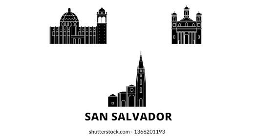 El Salvador, San Salvador flat travel skyline set. El Salvador, San Salvador black city vector illustration, symbol, travel sights, landmarks.
