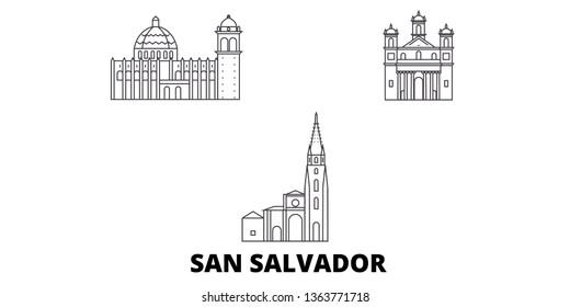 El Salvador, San Salvador line travel skyline set. El Salvador, San Salvador outline city vector illustration, symbol, travel sights, landmarks.