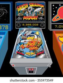 elaborate retro bright colorful pinball machine