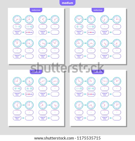 Elapsed Time Telling Time Worksheet Kids Stock Vector Royalty Free