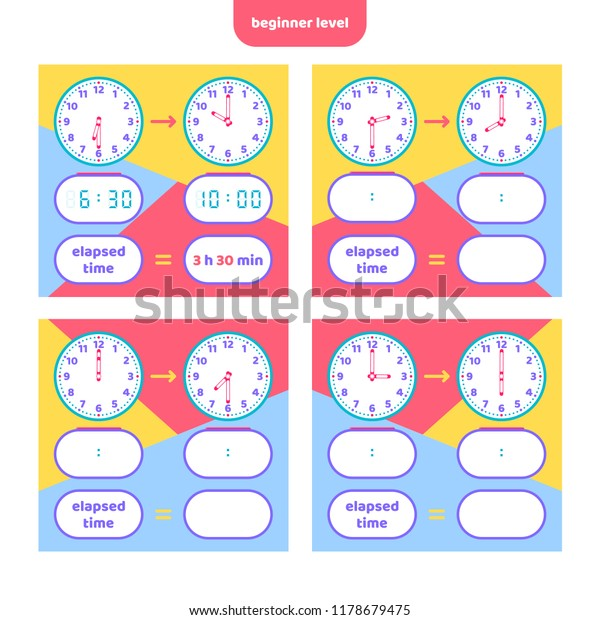 photo about Telling Time Printable Game named Elapsed Season Telling Year Worksheet Youngsters Inventory Vector