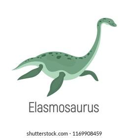 Elasmosaurus color vector icon. Flat design