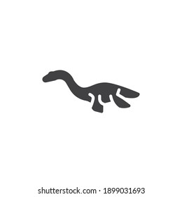 Elasmosaurus dinosaur vector icon. filled flat sign for mobile concept and web design. Elasmosaurus glyph icon. Symbol, logo illustration. Vector graphics