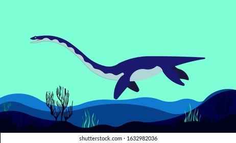 Elasmosaurus Swimming Under Blue Sea