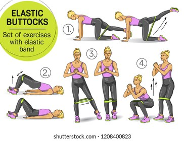 Elastic buttocks. Set of exercises with elastic band