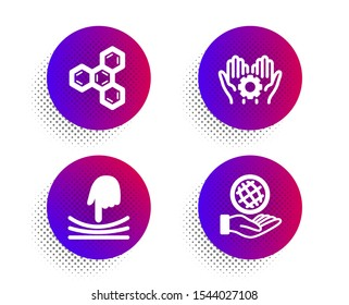 Elastic, Chemical formula and Employee hand icons simple set. Halftone dots button. Safe planet sign. Resilience, Chemistry, Work gear. Ecology. Science set. Classic flat elastic icon. Vector