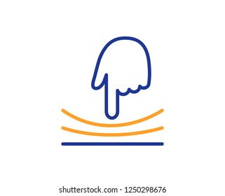 Elastic line icon. Resilience material sign. Colorful outline concept. Blue and orange thin line color icon. Elastic Vector