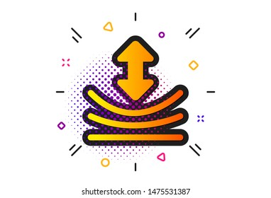 Elastic material sign. Halftone circles pattern. Resilience icon. Classic flat resilience icon. Vector