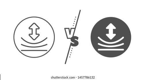Elastic material sign. Versus concept. Resilience line icon. Line vs classic resilience icon. Vector