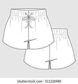 Elastic Short Shorts Technical Drawing