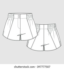 Elastic Waist Panel Shorts. Fashion Illustration, CAD, Technical Drawing, Specification Drawing, Pen Tool, Editable.