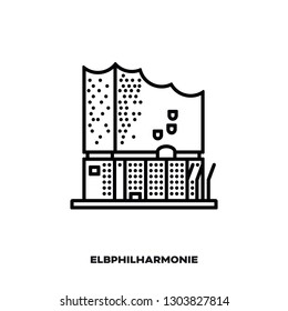 Elbe Philharmonic Hall  or Elbphilharmonie, concert hall at Hamburg, Germany, vector line icon. International landmark and tourism symbol.