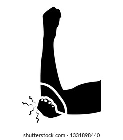 Elbow bleeding glyph icon design, elbow fractured