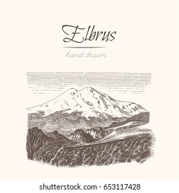 Elbrus. Alps. Sketch of a mountains, engraving style, hand drawn vector illustration