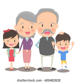 Elder couple and grandchild
