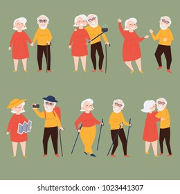 Elder couple is making selfie together in different situations. Old retired woman and man are traveling and taking photo of theirselves. Selfie and tracking sticks, map, backpack. Flat illustration